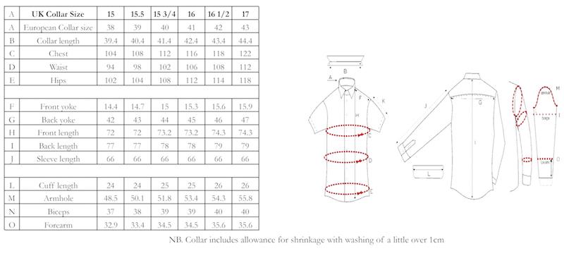 Size guide, Edward Sexton shirts, The Rake